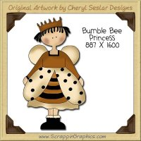 Bumble Bee Princess Single Clip Art Graphic Download
