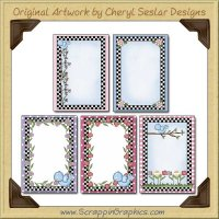 Pretty Flower Card Frames Sampler Card Printable Download