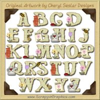 Summer Garden Alphabet & Numbers Clip Art Download