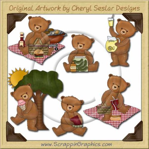 Picnic With Teddy Collection Graphics Clip Art Download