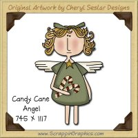 Candy Cane Angel Single Graphics Clip Art Download