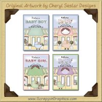 Welcome Baby Cards Sampler Collection Printable Craft Download