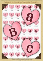 Pink Candy Hearts Letters & Numbers Clip Art Graphics