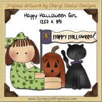 Happy Halloween Girl Single Graphics Clip Art Download