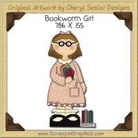Bookworm Girl Single Clip Art Graphic Download