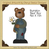 Bumpkin Bear Boy Single Clip Art Graphic Download