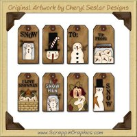 Prim Snowman Tags Collection Printable Craft Download
