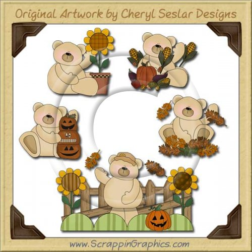 Harvest Thyme Bears Collection Graphics Clip Art Download
