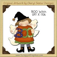 BOO Witch Single Clip Art Graphic Download
