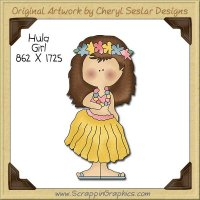Hula Girl Single Clip Art Graphic Download