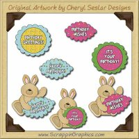 Birthday Bunnies Graphics Clip Art Download