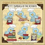 Pretty Birdies In The Kitchen Limited Pro Clip Art Graphics