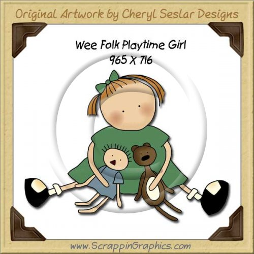 Wee Folk Playtime Girl Single Graphics Clip Art Download