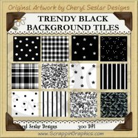 Trendy Black Background Tiles Clip Art Graphics