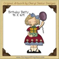 Birthday Betty Single Clip Art Graphic Download