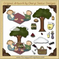 Wee Folk Picnic Kids Graphics Clip Art Download