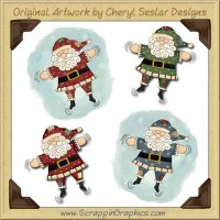 Santa Snow Angels Limited Pro Graphics Clip Art Download