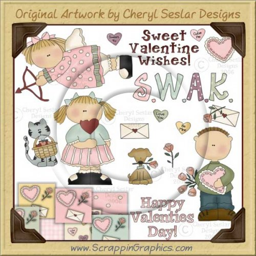 Sweet Valentine Wishes Clip Art & Printable Craft Graphics Collection