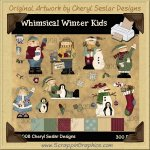 Whimsical Winter Kids Clip Art Graphics Collection