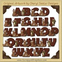 Beary Christmas Alphabet & Numbers Clip Art Graphics