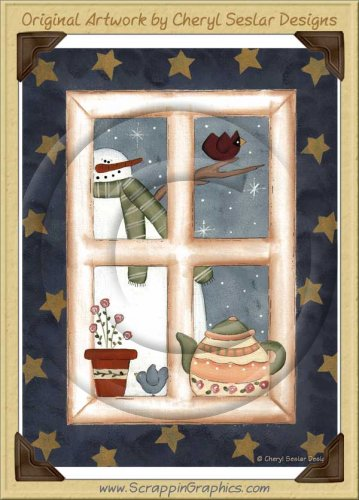 Snowman Window Print Art