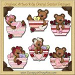 Raggedy Bears Valentine Bowls Graphics Clip Art Download
