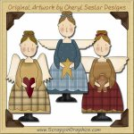 Primitive Angel Trio Collection Graphics Clip Art Download