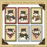 Christmas Snowman Cards Collection Printable Craft Download