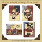 Americana Girls Cards Collection Printable Craft Download