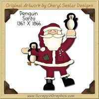 Penguin Santa Single Clip Art Graphic Download