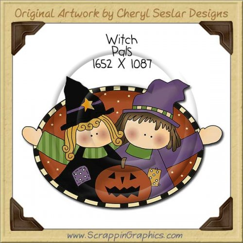 Witch Pals Single Clip Art Graphic Download