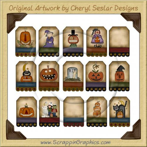 Folk Art Halloween Tags Two Collection Printable Craft Download