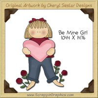 Be Mine Girl Single Clip Art Graphic Download