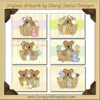 Baby Bear Baskets Cards Collection Printable Craft Download