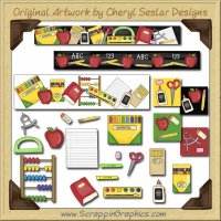 School Supplies Collection Graphics Clip Art Download