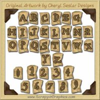 Antique Kraft Alphabet Graphics Clip Art Download