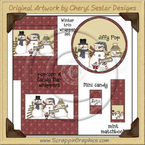Winter Trio Wrapper Set Printable Craft Collection Graphics Clip