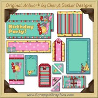 Birthday Favors Journaling Delights Digital Scrapbooking Graphics Clip Art Download