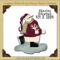 Skating Snowman Single Graphics Clip Art Download