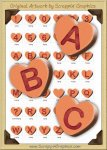 3D Orange Conversation Hearts Letters & Numbers Clip Art Graphics
