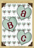 Green Candy Hearts Letters & Numbers Clip Art Graphics