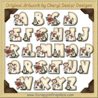 Winter Annie Alphabet & Numbers Clip Art Download