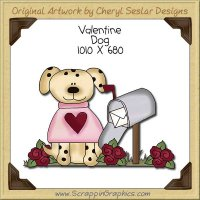 Valentine Dog Single Clip Art Graphic Download
