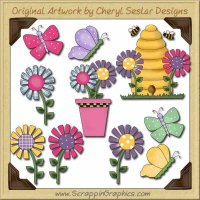 Butterflies & Blooms Graphics Clip Art Download
