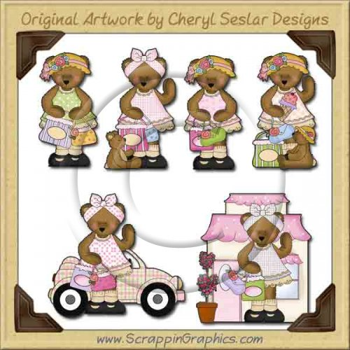 Belinda Bear Goes Shopping Graphics Clip Art Download