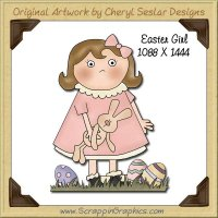 Easter Girl Single Graphics Clip Art Download