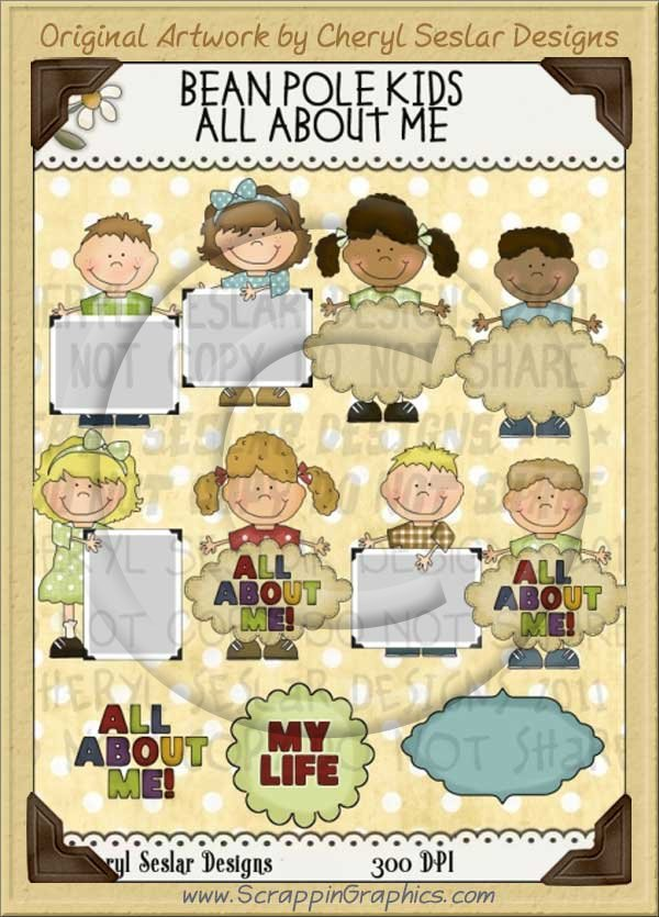 Bean Pole Kids All About Me Limited Pro Clip Art Graphics - Click Image to Close