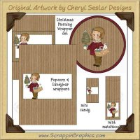 Christmas Sweetie Wrapper Set Printable Craft Collection Graphic