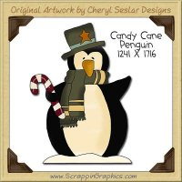 Candy Cane Penguin Single Clip Art Graphic Download