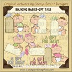 Bouncing Babies Gift Tags Limited Pro Clip Art Graphics